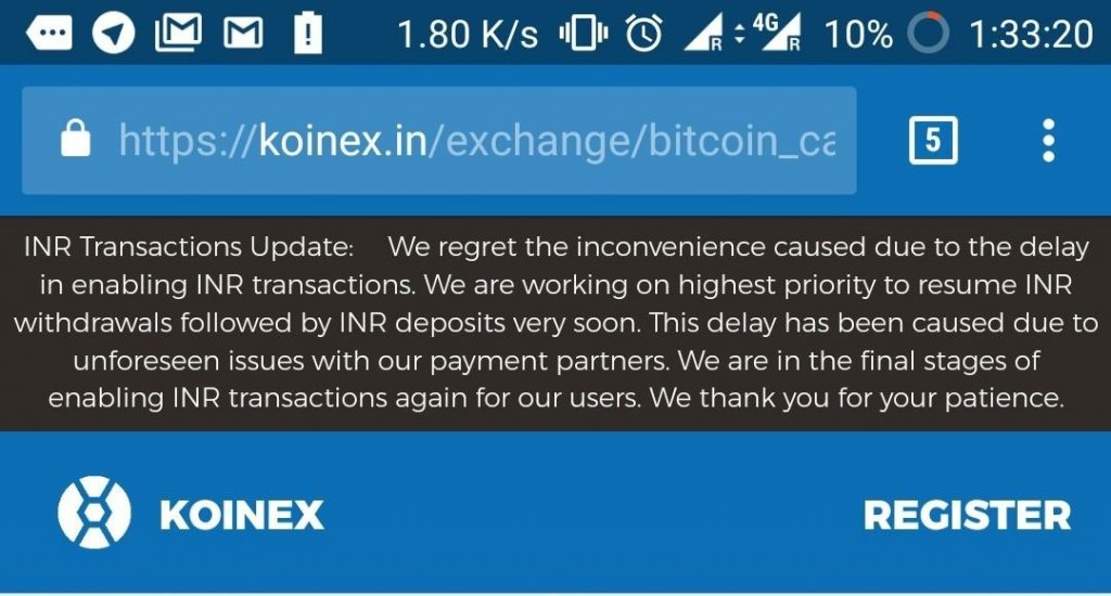 when will koinex start deposit and withdrawal